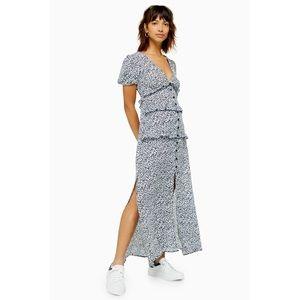 New Topshop Spot Open Back Ruffle Midi Dress 6